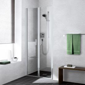 Kermi Liga hinged door TSG clear / matt glossy silver