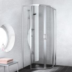 Kermi Liga quadrant floor-level, sliding door TSG clear with KermiClean / silver high gloss