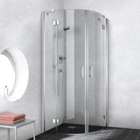 Kermi Liga quadrant, hinged door with fixed panel TSG clear / silver high gloss