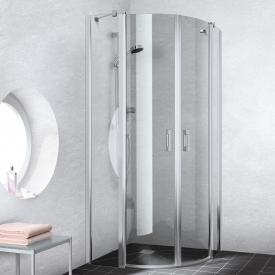 Kermi Liga quadrant, hinged doors with fixed panels TSG clear with KermiClean / glossy matt silver