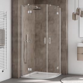 Kermi Liga quadrant swing door with fixed panels TSG clear / silver high gloss