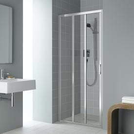 Kermi Liga sliding door 3-part with fixed panel TSG clear / matt glossy silver