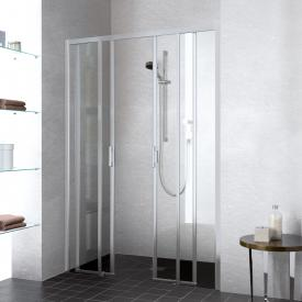 Kermi Liga sliding door 4-part floor level with fixed panels TSG clear / matt glossy silver
