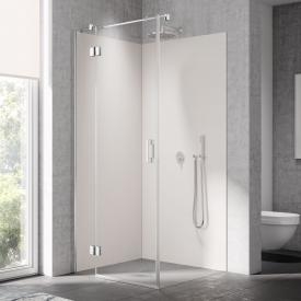 Kermi Liga swing door with fixed panel for side panel TSG clear with KermiClean / silver high gloss