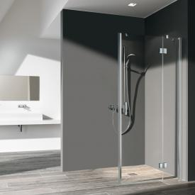 Kermi Liga swing door with fixed panel TSG clear with KermiClean / silver high gloss