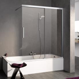 Kermi Nica bath screen sliding door 2-part with fixed panel TSG clear with KermiClean / silver high gloss