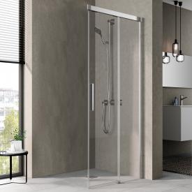 Kermi NICA corner entry sliding door, one half, 2-piece, floor-level TSG clear with KermiClean / silver high gloss