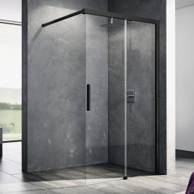 Kermi Nica Paroi de douche avec porte coulissante pour douche à l'italienne Verre trempé transparent avec KermiClean/noir soft