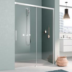 Kermi Nica Porte coulissante avec cadre fixe pour douche en niche en 2 parties, avec garde au sol Verre trempé transparent avec KermiClean/argent ultra brillant
