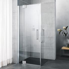 Kermi Pasa XP hinged door with fixed panel TSG clear with KermiClean / silver high gloss