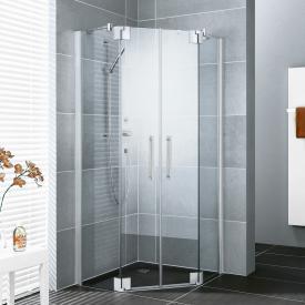 Kermi Pasa XP pentagonal hinged door with fixed panel TSG clear with KermiClean / matt glossy silver