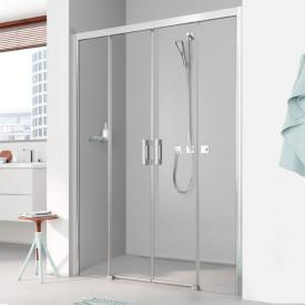 Kermi Pega 4 piece floor level, sliding door with fixed panels TSG clear with KermiClean / silver high gloss