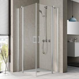 Kermi Pega corner entry 2 piece, hinged door with fixed panel, one half TSG clear with KermiClean / silver high gloss