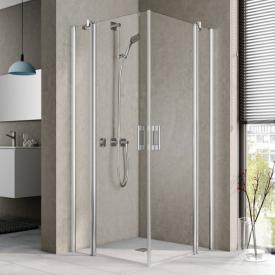 Kermi Pega corner entry 2 piece, hinged door with fixed panel, one half TSG clear / silver high gloss