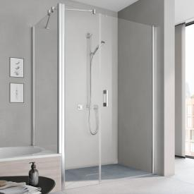 Kermi Pega hinged door 1 wing with fixed panel TSG clear / silver high gloss