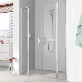Kermi Pega hinged door with fixed panels TSG clear with KermiClean / silver high gloss