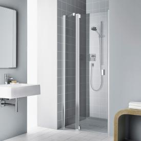 Kermi Raya hinged door 1-wing with fixed panel TSG clear with KermiClean / silver high gloss