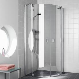 Kermi Raya quadrant, hinged doors with fixed panels TSG clear / silver high gloss