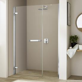 Kermi Tusca hinged door 1 wing and fixed panel for recess TSG clear with KermiClean / silver high gloss