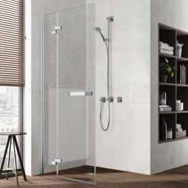 Kermi Tusca hinged door with fixed element for corner entry TSG clear with KermiClean / silver high gloss