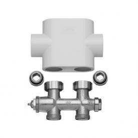 Kermi valve tap block set straight white