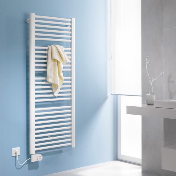 Kermi Basic-E bathroom radiator for purely electrical operation white, 800 Watt, electric set FKS left