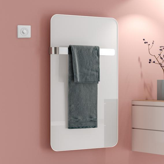 Kermi Eveo infrared heating panel set with towel bar white, 255 Watt, electric set WKS
