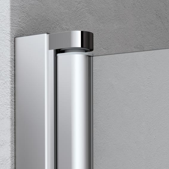 Kermi Liga corner entry 2-part, bi-fold door TSG clear with KermiClean / matt glossy silver
