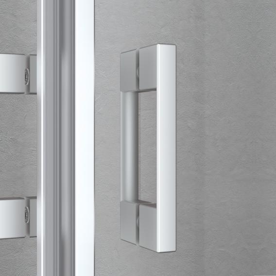 Kermi Liga hinged door TSG clear / matt glossy silver