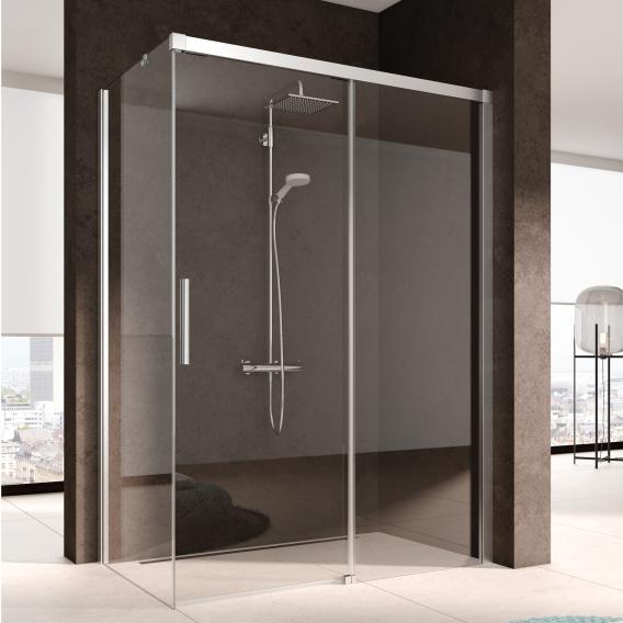 Kermi NICA sliding door 2-piece, floor-level with fixed panel for side panel TSG clear with KermiClean / silver high gloss