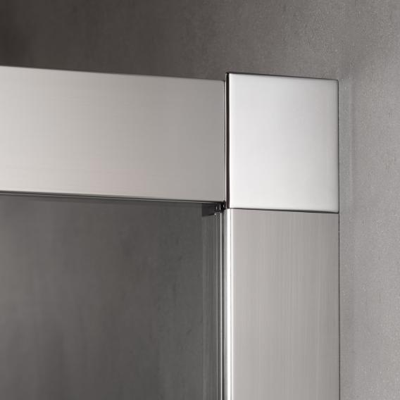 Kermi NICA sliding door 2-piece, floor-level with fixed panel for recess TSG clear with KermiClean / silver high gloss
