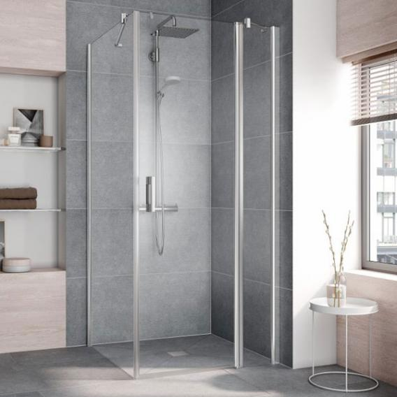 Kermi Pega hinged door 1 wing with fixed panel TSG clear with KermiClean / silver high gloss