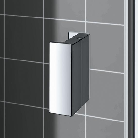 Kermi Raya corner entry, hinged door with fixed panel, half TSG clear / silver high gloss
