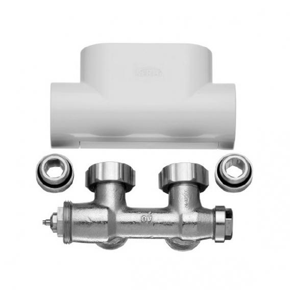 Kermi valve tap block set angled white