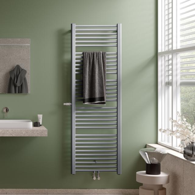 Kermi Basic-Plus bathroom radiator with built-in thermostatic valve for hot water or mixed operation metallica, 631 Watt, left