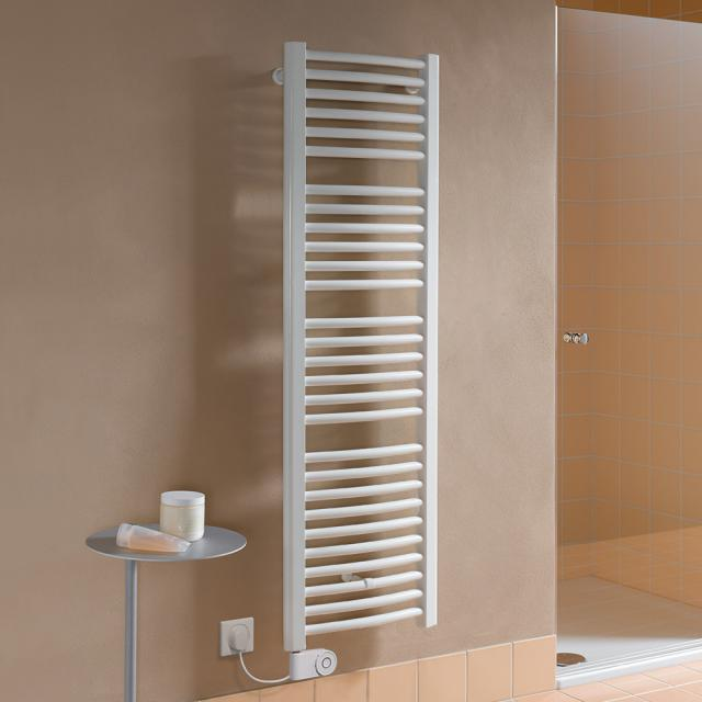 Kermi Basic R-E bathroom radiator for purely electrical operation with curved pipes white, 600 Watt, electric set FKS left