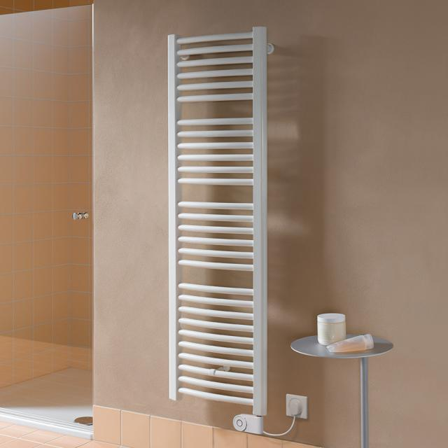 Kermi Basic R-E bathroom radiator for purely electrical operation with curved pipes white, 800 Watt, electric set FKS right