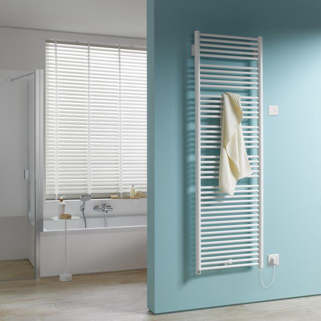 Kermi Geneo circle-E radiator for electric operation only with wall connection white, electric set WKS right