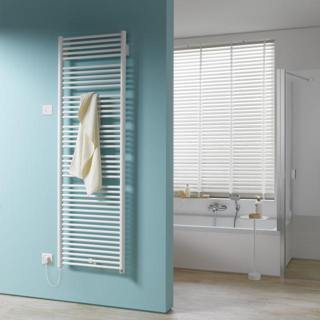 Kermi Geneo circle-E radiator for electric operation only with radio receiver white, electric set WFS left