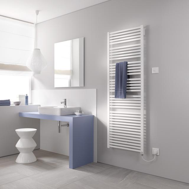 Kermi Geneo quadris-E radiator for electric operation only, with electric set WFS white, electric set WFS right