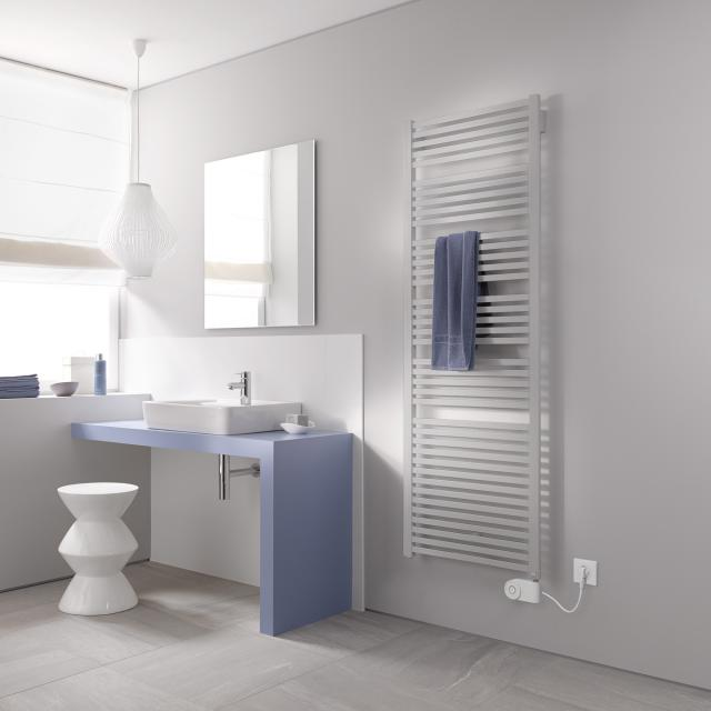 Kermi Geneo quadris-E radiator for electric operation only, with electric set FKS metallica, electric set FKS right
