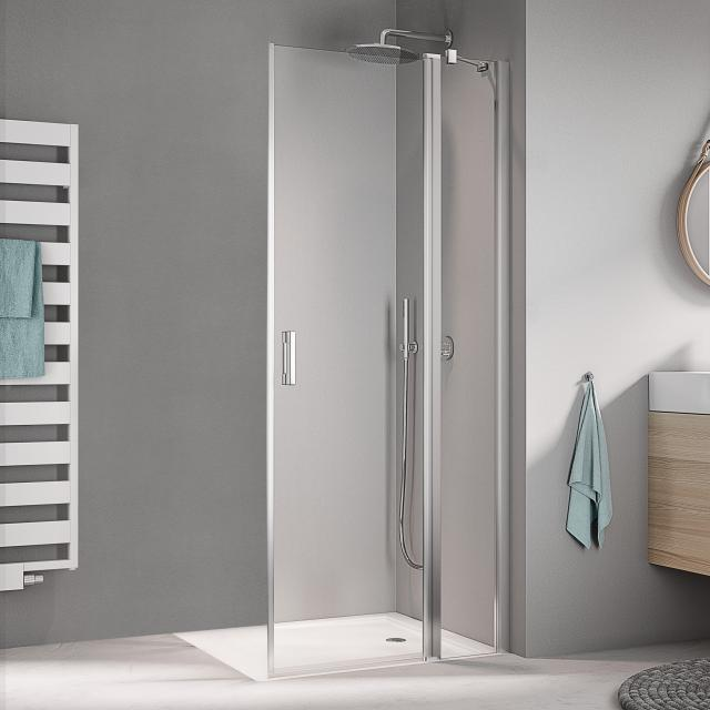 Kermi Liga corner entry 2-part, hinged door with fixed panel TSG clear / matt glossy silver