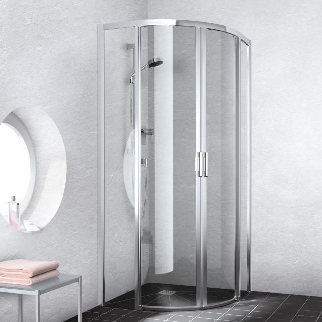 Kermi Liga quadrant floor-level, sliding door TSG clear / silver high gloss