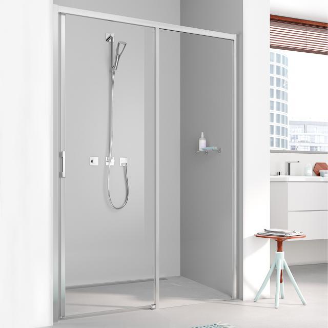 Kermi Liga sliding door 2 part with fixed panel TSG clear / matt glossy silver