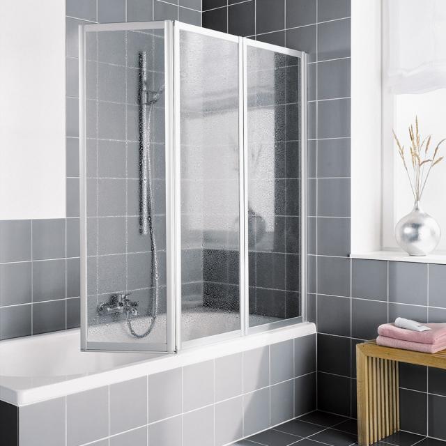 Kermi Vario 2000 folding bath screen, 3 wings Kerolan pearl / matt glossy silver
