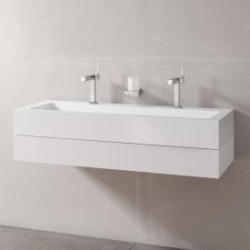 Keuco Edition 300 double washbasin with vanity unit with 1 pull-out compartment front white / corpus white