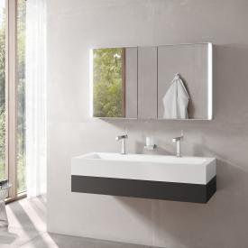 Keuco Edition 300 washbasin with vanity unit and Royal Match LED mirror cabinet front anthracite / corpus anthracite