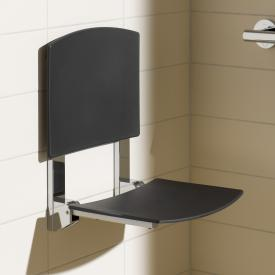 Keuco Plan Care wall-mounted foldable seat silver anodised/black grey