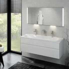Keuco Royal Reflex double washbasin with vanity unit and LED illuminated mirror front white high gloss / corpus white high gloss