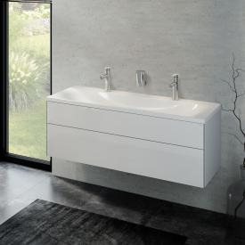 Keuco Royal Reflex double washbasin with vanity unit with 1 pull-out compartment front white high gloss / corpus white high gloss
